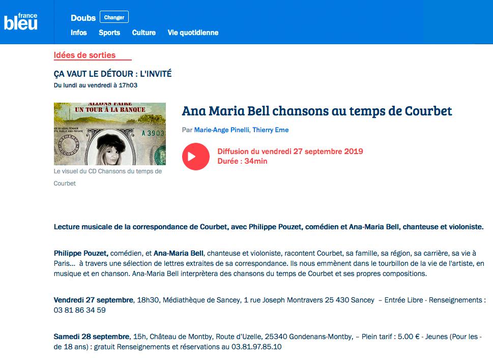 Emission sur France Bleu du 27 septembre 2019